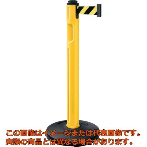 スガツネ工業 290-036299 屋外用ベルトパーテーション ゴム 柱黄 黄黒 80-5000R-YL-SF