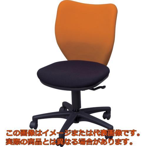 【代引き不可・配送時間指定不可】 アイリスチトセ オフィスチェア ミドルバックタイプ オレンジ・ブラック BIT-BX45-L0-F-OGBK