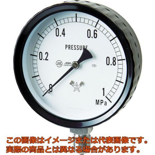 右下 ステンレス圧力計(A枠立型・φ100) 圧力レンジ0~0.10MPa G4112610.1MP