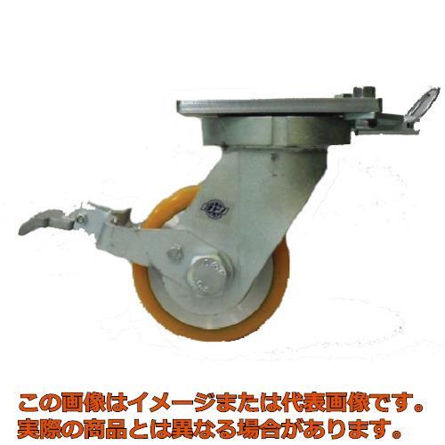 ヨドノ 超重量用高硬度ウレタン自在車ストッパー・旋回ロック付 2000kg用 HDUJ200STTL