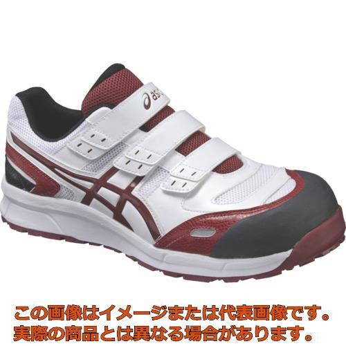アシックス ウィンジョブCP102 ホワイト×バーガンディ 25.0cm FCP102.012625.0
