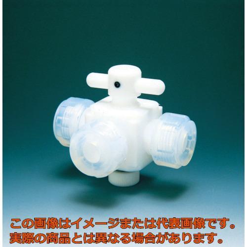 フロンケミカル フッ素樹脂(PTFE)三方バルブ接続12mm NR0030004