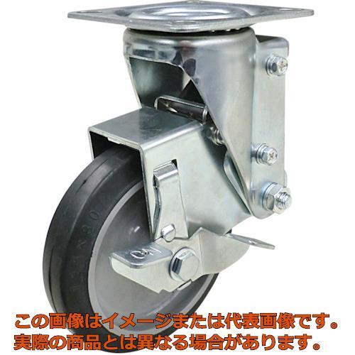 ユーエイ クッションキャスター 125径 自在車 ストッパー付 ゴム車輪 SHSKYS125NRBDS30