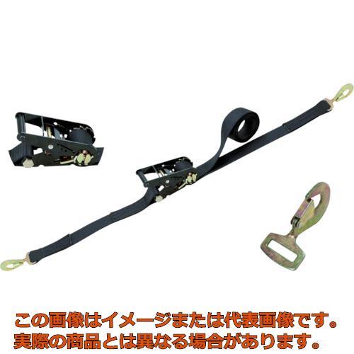 シライ ラチェットバックル 黒 スナップフックツイスト付 RK50LB6SHT500