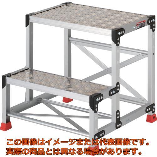 【代引き不可・配送日時指定不可】 TRUSCO 作業用踏台 アルミ製・縞板タイプ 天板寸法600X400XH600 TSFC266