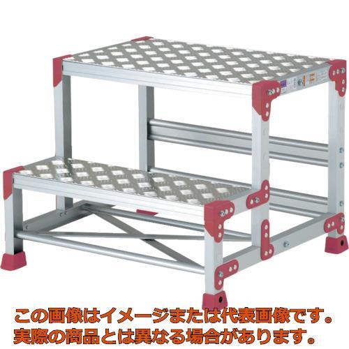 【代引き不可・配送日時指定不可】 ピカ 作業台 ZG-P型縞板仕様 2段 幅50cm高さ50cm ZG255P