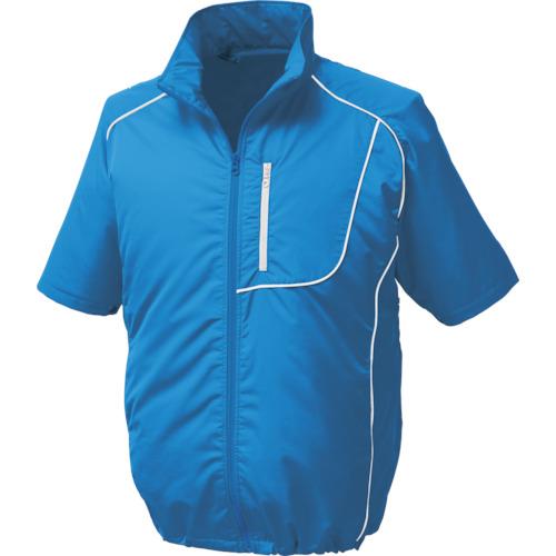 空調服 ポリエステル製半袖空調服 ワンタッチファングレー 大容量バッテリーセット ブルー 1720-G22-C04