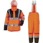 カジメイク 高視認性レインスーツ オレンジ 雨具 3850-25