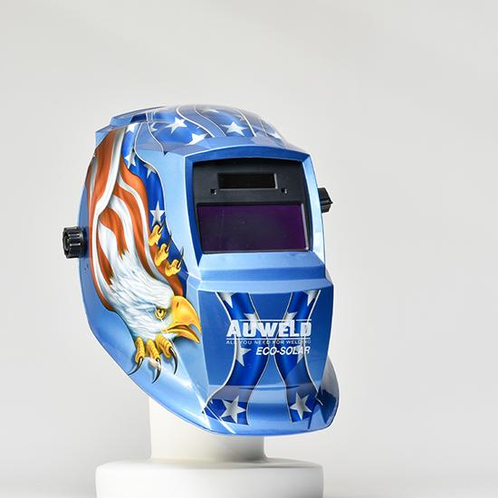 遮光度の調節ができる自動遮光ヘルメット AUWELD 青(イーグルブルー) アーク溶接用 半自動溶接用 TIG溶接用 遮光面
