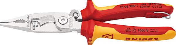 ☆KNIPEX/クニペックス 1396-200TBK 絶縁エレクトロプライヤー 1000V絶縁 落下防止 (BK) 輸入 工具