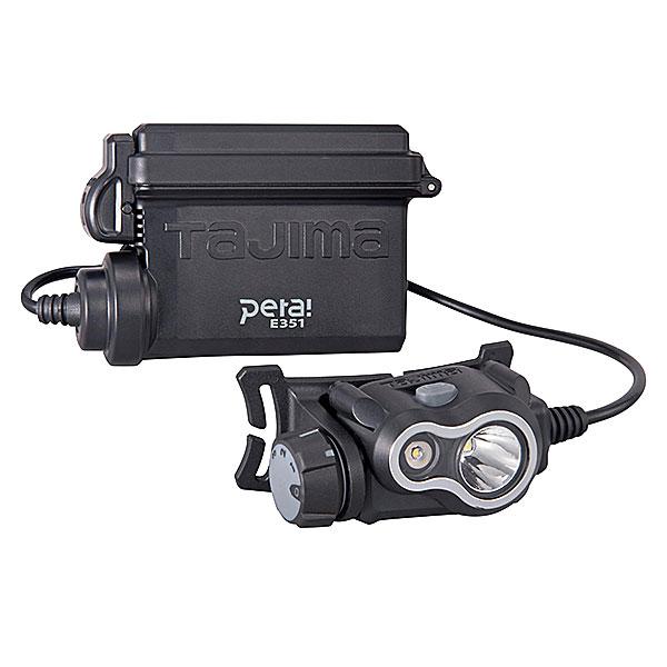 ☆TAJIMA/タジマ LE-E351-SPS ペタLEDヘッドライト E351 充電池セット シルバー 350lm ハイブリッド式