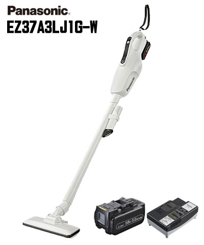 ☆Panasonic/パナソニック EZ37A3LJ1G-W コードレスクリーナー 白(ホワイト) 18V 5.0Ah電池・急速充電器付 工事用充電クリーナー 掃除機