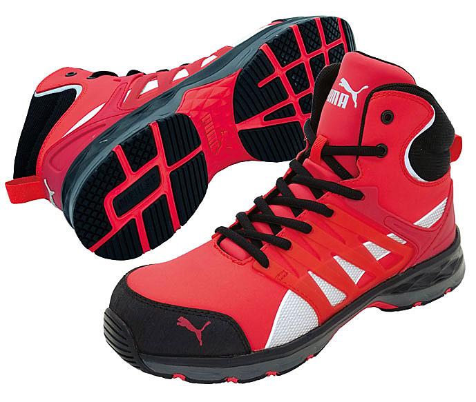 ☆プーマ/PUMA 安全靴 VELOCITY 2.0 ヴェロシティ 2.0 レッド ミッド (25.0cm~28.0cm) 3E NO.63.343.0 男性用ミッドカット作業靴 JSAA A種認定商品