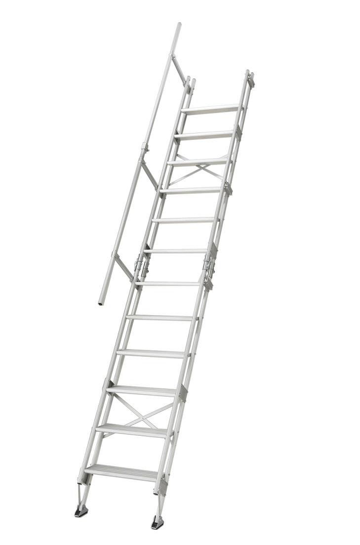 ☆【代引き不可】ハセガワ アルミ仮設階段はしご 建作くん K-11-600(15841)