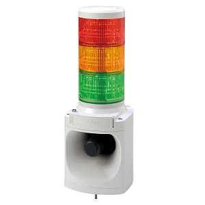 ☆パトライト LED積層信号灯付き電子音報知器 3段式 AC220V 青白(2色)・緑赤黄(1色) LKEH-320-B