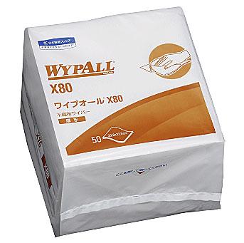 【代引き不可】☆クレシア 60580 ワイプオールX80 4つ折 50枚×12パック  コード(3927725)