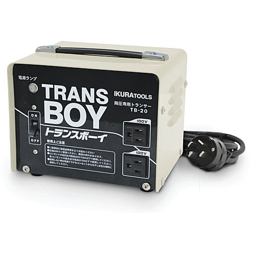 200Vより降圧した100V電圧ドロップを解消します ☆育良精機 予約 低廉 TB-20 降圧器 40215 ポータブルトランス