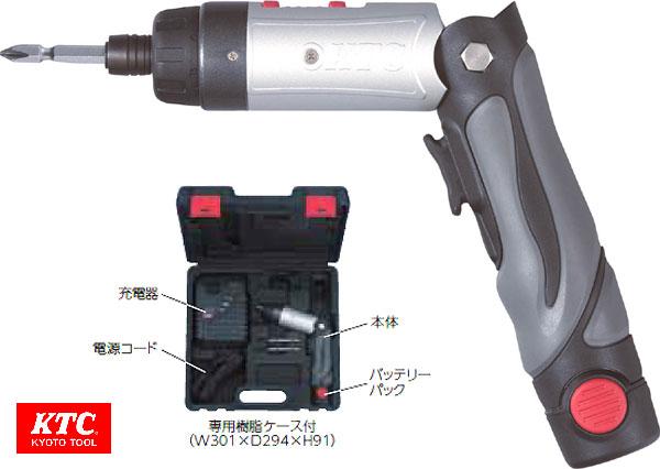 ☆KTC/京都機械工具 JTAE121 1/4SQ コードレスドライバ セット