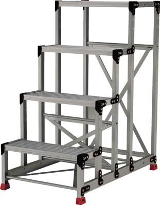 【代引き不可】☆TRUSCO/トラスコ中山 作業用踏台 アルミ製・高強度タイプ 4段  TSF4612  (2621673)