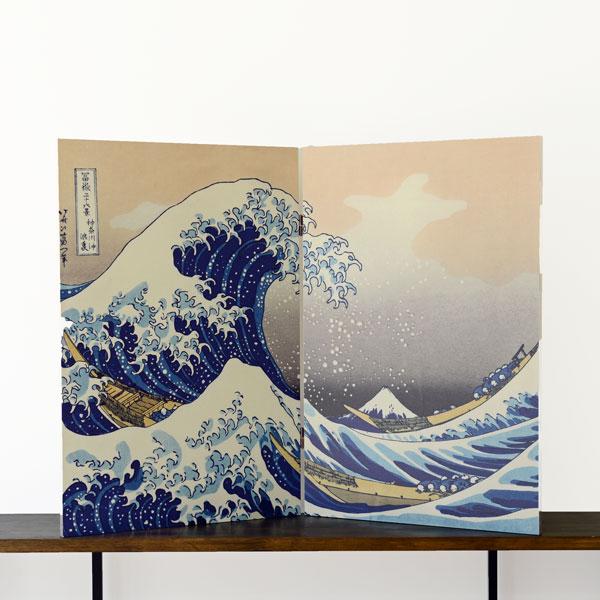Byoubu T820 Kanagawa-oki Nami Ura 木製和風屏風 No.7 神奈川沖浪裏 2連サイズ 約55cm×高さ82cm×2連【日本製】