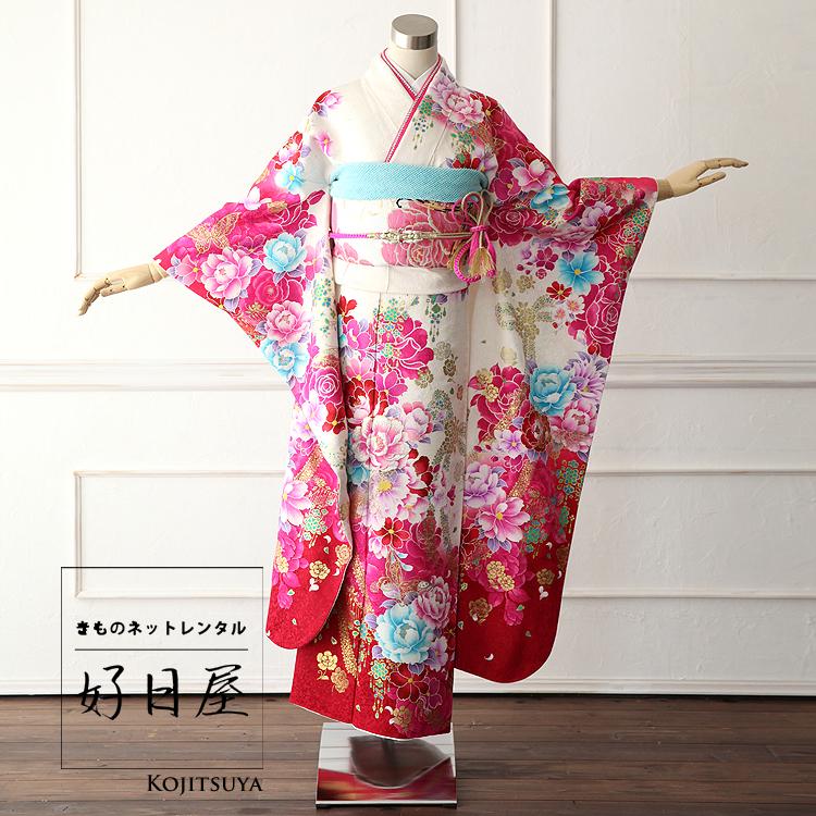 振袖 レンタル フルセット 正絹 着物 結婚式 成人式 身長150-165cm 白 wh-001