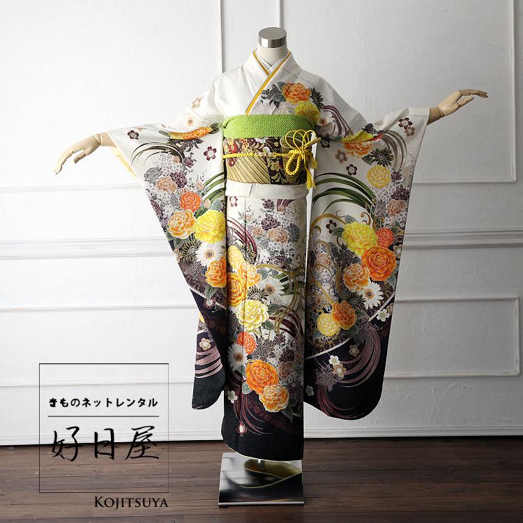 振袖 レンタル フルセット 正絹 着物 結婚式 成人式 身長150-165cm 白 wh-008
