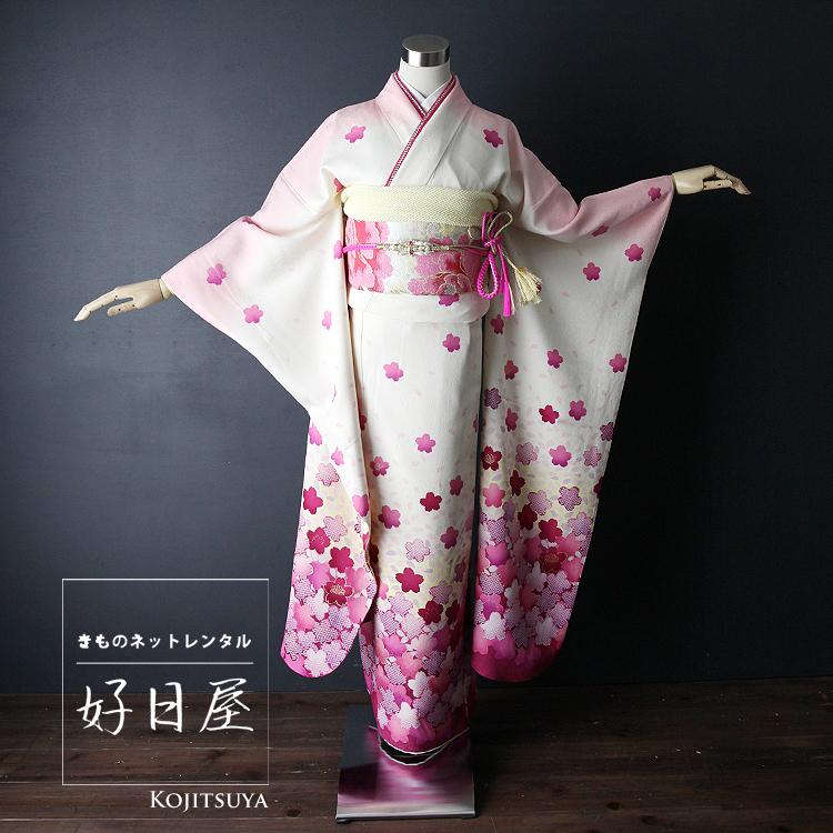 振袖 レンタル フルセット 正絹 着物 結婚式 成人式 身長159-174cm 白 wh-018-s