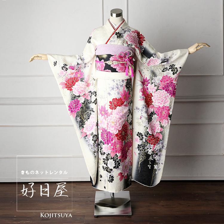 振袖 レンタル フルセット 正絹 着物 【レンタル】 結婚式 成人式 身長159-174cm 白 wh-021-s