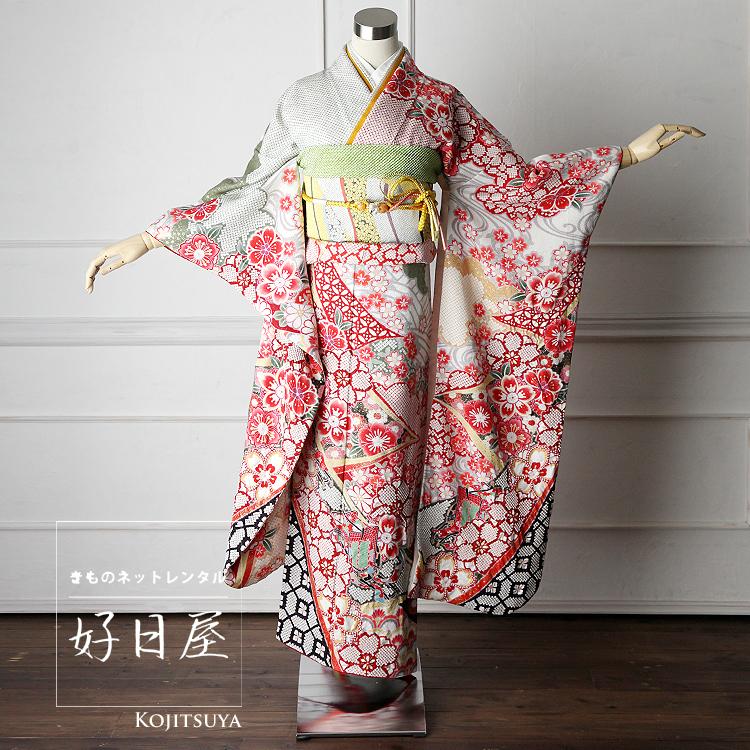 振袖 レンタル フルセット 正絹 着物 【レンタル】 結婚式 成人式 身長147-162cm 白 wh-022