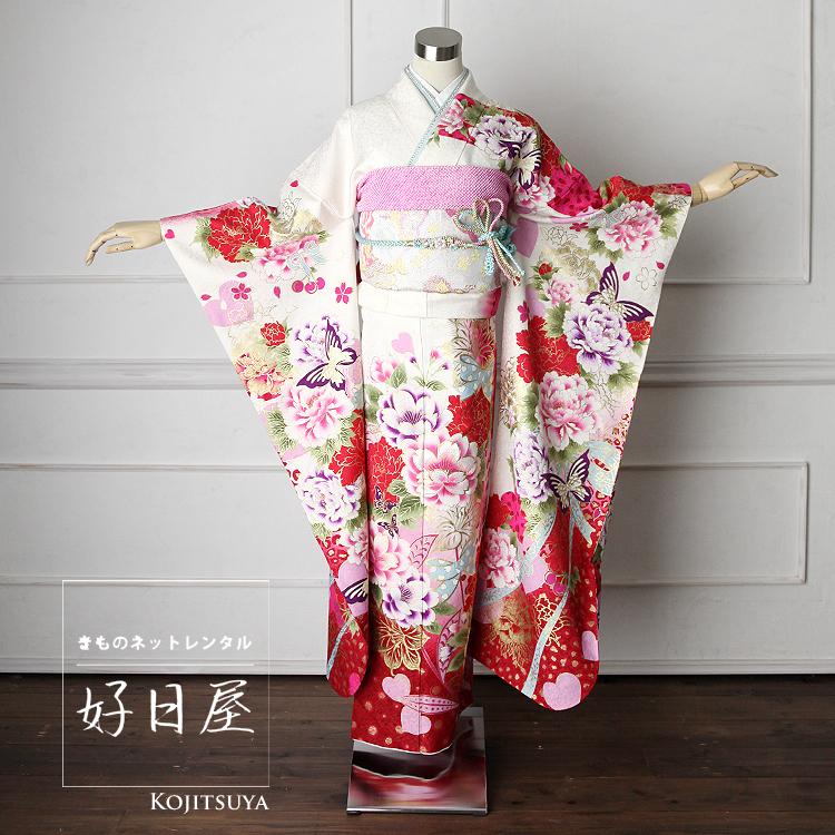 振袖 レンタル フルセット 正絹 着物 【レンタル】 結婚式 成人式 身長161-176cm 白 wh-023