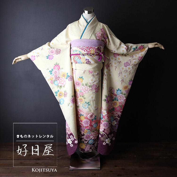 振袖 レンタル フルセット 正絹 着物 結婚式 成人式 身長161-176cm 黄 ye-004-s