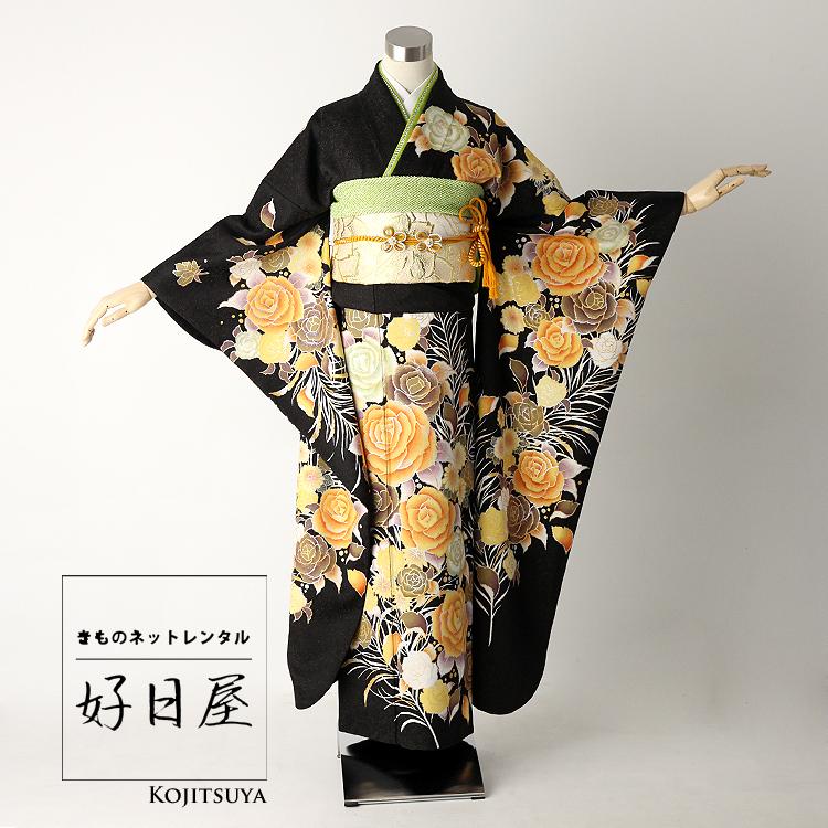 振袖 レンタル フルセット 正絹 着物 【レンタル】 結婚式 成人式 身長161-176cm 黒 bk-017
