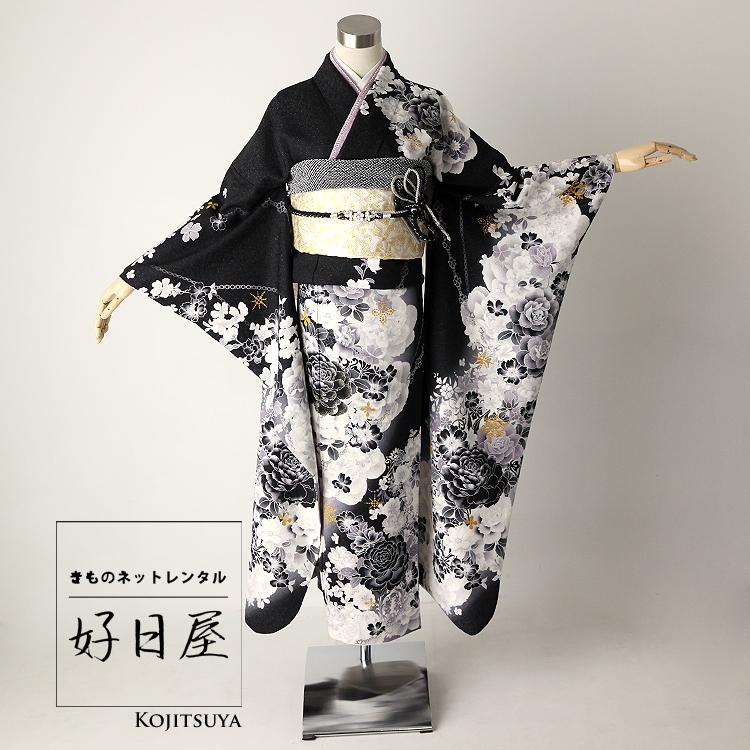 振袖 レンタル フルセット 正絹 着物 結婚式 成人式 身長159-174cm 黒 bk-023-s