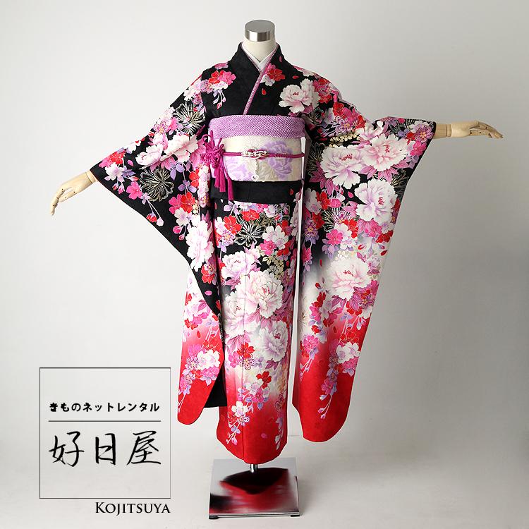 振袖 レンタル フルセット 正絹 着物 【レンタル】 結婚式 成人式 身長155-170cm 黒 bk-024
