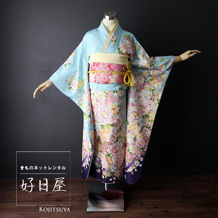 振袖 レンタル フルセット 正絹 着物 【レンタル】 結婚式 成人式 身長145-160cm 青 bl-006