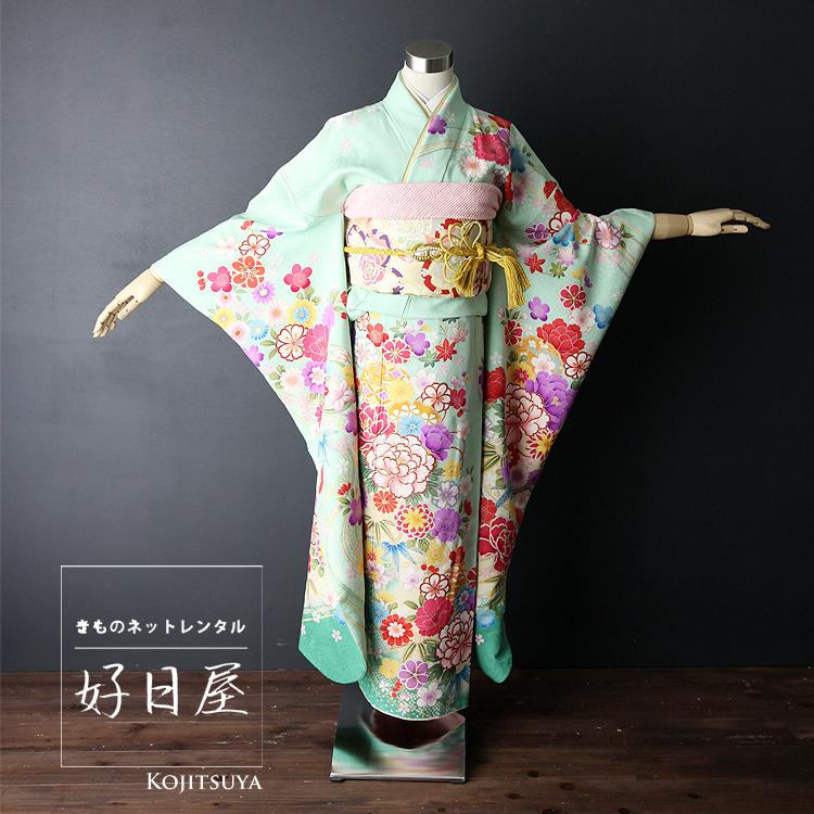 振袖 レンタル フルセット 正絹 着物 【レンタル】 結婚式 成人式 身長158-173cm 緑 gr-001