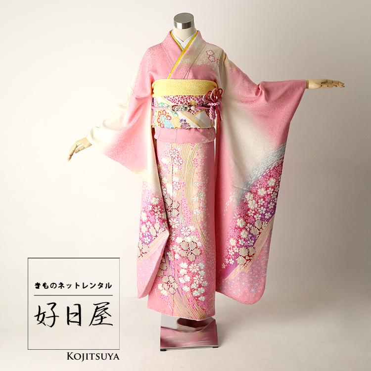 振袖 レンタル フルセット 正絹 着物 【レンタル】 結婚式 成人式 身長159-174cm ピンク pi-002