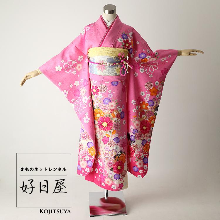 振袖 レンタル フルセット 正絹 着物 結婚式 成人式 身長144-159cm ピンク pi-004-s