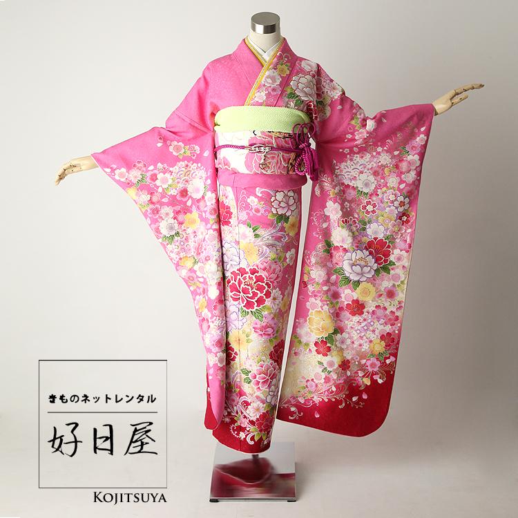 振袖 レンタル フルセット 正絹 着物 結婚式 成人式 身長161-176cm ピンク pi-009-s