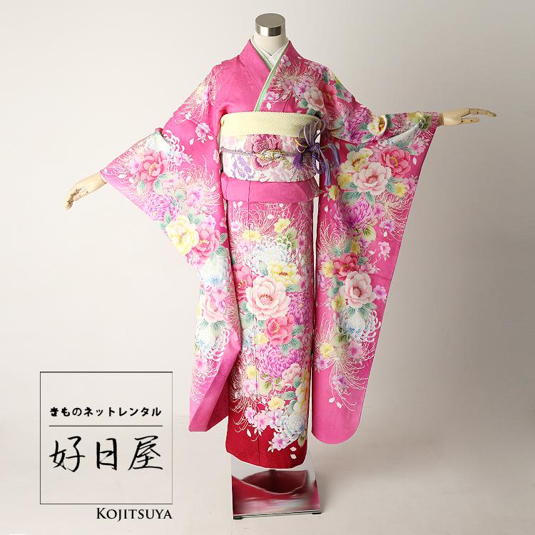 振袖 レンタル フルセット 正絹 着物 結婚式 成人式 身長161-176cm ピンク pi-010-s