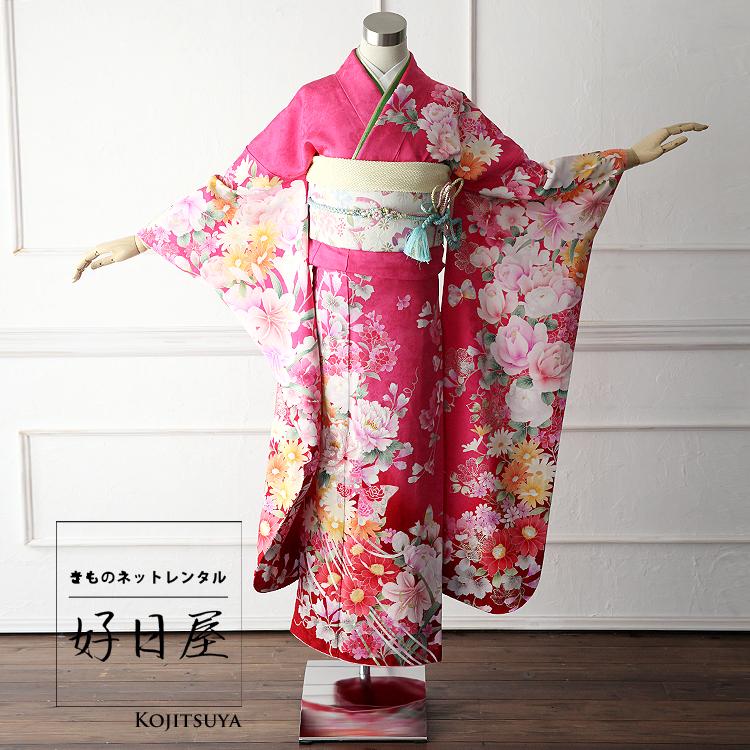 振袖 レンタル フルセット 正絹 着物 【レンタル】 結婚式 成人式 身長149-164cm ピンク pi-011-s