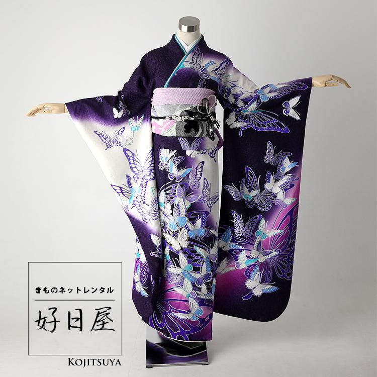 振袖 レンタル フルセット 正絹 着物 【レンタル】 結婚式 成人式 身長162-177cm 紫 pu-003