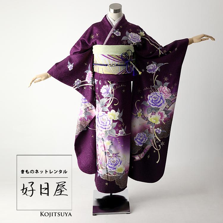 振袖 レンタル フルセット 正絹 着物 【レンタル】 結婚式 成人式 身長163-178cm 紫 pu-008