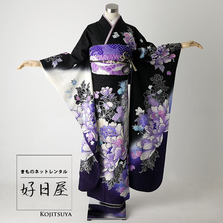 振袖 レンタル フルセット 正絹 着物 【レンタル】 結婚式 成人式 身長161-176cm 紫 pu-004