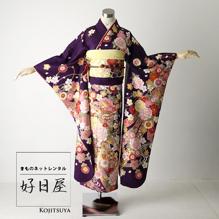 振袖 レンタル フルセット 正絹 着物 【レンタル】 結婚式 成人式 身長151-166cm 紫 pu-009