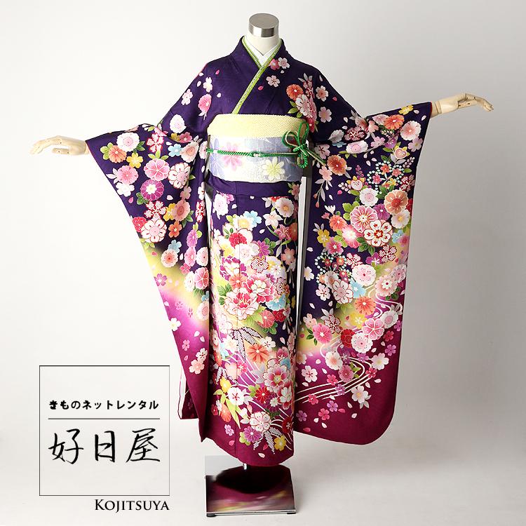 振袖 レンタル フルセット 正絹 着物 結婚式 成人式 身長161-176cm 紫 pu-011