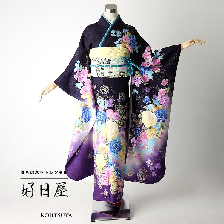振袖 レンタル フルセット 正絹 着物 【レンタル】 結婚式 成人式 身長161-176cm 紫 pu-013