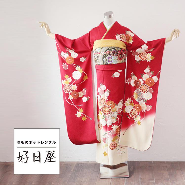 振袖 レンタル フルセット 正絹 着物 【レンタル】 結婚式 成人式 身長156-171cm 赤 re-003