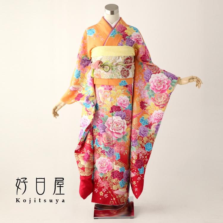 振袖 レンタル フルセット 正絹 着物 【レンタル】 結婚式 成人式 身長157-172cm オレンジ or-001