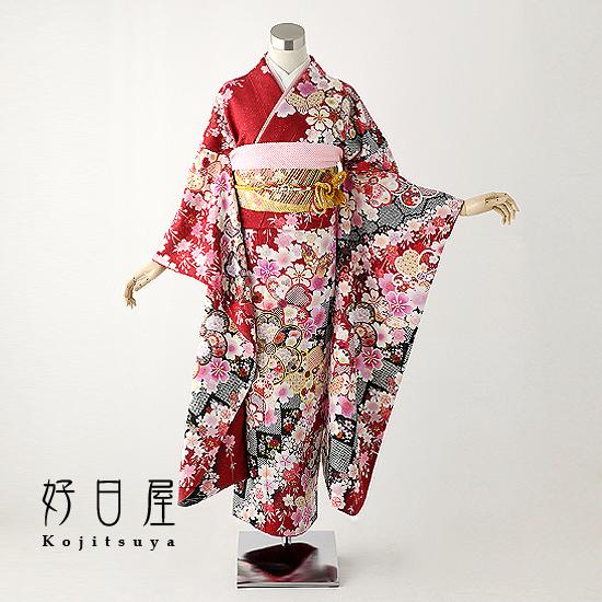 振袖 レンタル フルセット 正絹 着物 結婚式 成人式 身長145-160cm 赤 re-031-s